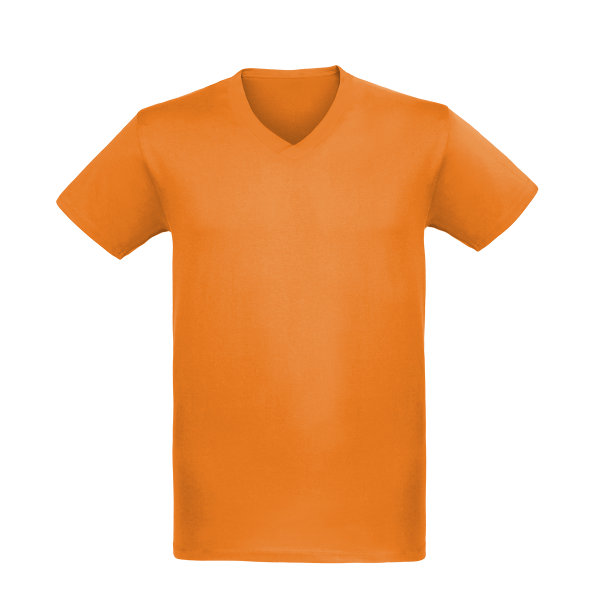 T-Shirt mit V-Neck orange bedrucken