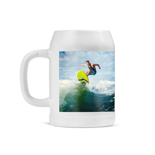 Bierkrug bedrucken mit Surfer
