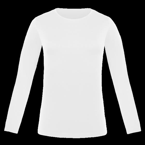 Langarmshirts für Frauen in weiß bedrucken, Vorderseite