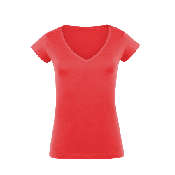 Damen T-Shirt V-Ausschnitt Slim Fit rot